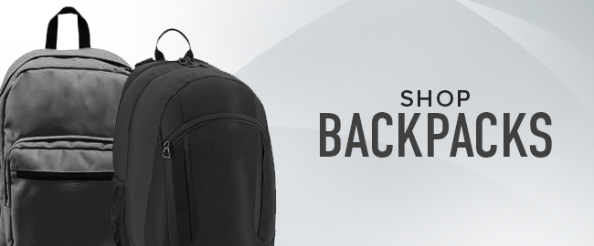 Picture of backpacks. Click to shop Backpacks.